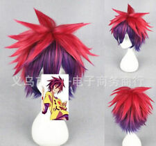 No Game No Life Sora Red Purple Gradient Short wigs Party Anime Wig Hairnet