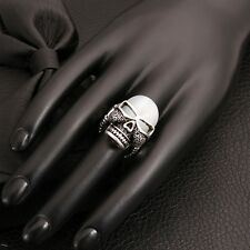 Sliver Punk Style Skull Men Ring Adjustable Size With Opal Stone