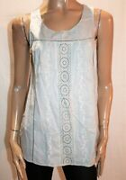 SUSSAN Brand Grey Cotton Embroidered Sleeveless Top Size S BNWT #RH106