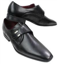 Mens Tan Brown Black Leather Shoes Italian Design Metal Buckle Slip On Smart