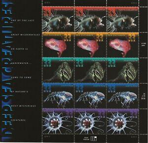 2000 33 cent Deep Sea Creatures full Sheet of 15, Scott #3439-3443, Mint NH