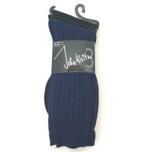 Mens Dress Socks Sock Size 6 - 12.5 John Weitz 2 Black Pair & 1 Blue Pair NEW