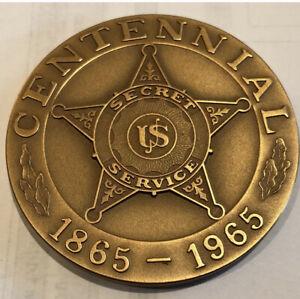 U.S. Secret Service 100th Anniversary U.S. Mint 2 1/2-inch bronze medal 1965