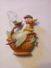 "Anri Italy Ferrandiz Goose In Basket Ornament 3"""