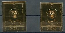 FUJEIRA  CHARLES deGAULLE PERF &  IMPERF GOLD FOIL LOT OF TWO  STAMPS   MINT NH