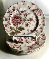 """4 Johnson Brothers Rose Chintz 6 1/4"""" Bread And Butter Plates"""