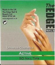 THE EDGE Active Nail Tips Natural Half Well False Nails Gel Acrylic GENUINE