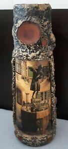 Handmade Decoupage Glass Bottle Of Puschkin  Wodka Home Décor Collectible