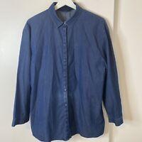 Lafayette 148 New York L Large???  Hidden Button Front Shirt Cotton Long Sleeve