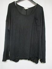 SERENE BLUE Women's Top Shirt Black Scoop Neck Long Sleeve Size 3X       g10