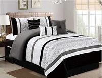 DCP 7Pcs Oversize Luxury Stripe Bed in Bag Microfiber Comforter Cal King Black