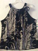 Women INC International Concepts Paragon Paisley Tie On Neck Halter Top Sz XL