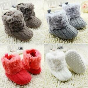 Baby Girls Winter Warm Snow Boots Booties Toddler Crochet Knit Crib Shoes 0-18M
