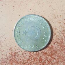1948 Turkey 1 Lira  Silver Coin