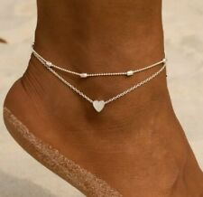 / Bracelet   Silver Tone Two Piece Layered Heart Anklet