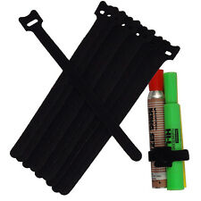 NEW 10PCS 20CM Cable Cord Ties Straps Wrap Hook And Loop Black Portable op $E