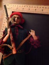Vintage Folk Art Doll  Canadian Felt Clay Metal Hand Painted/Sewn Moveable