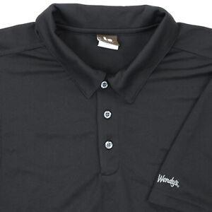 """Wendys Men XL 52"""" Polo Shirt Employee Uniform Black Polyester Restaurant"""