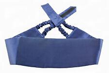 New ITALO FERRETTI Navy Blue Silk Adjustable Tuxedo Tux Cummerbund MSRP $295!