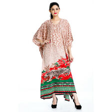 Multicolor Leopard Print Long Kaftan Women Dress Plus Size Clothing