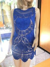 Lim'S Vintage Hand Crochet & Embroidery Zipped Mini Dress, One Size M, Blue