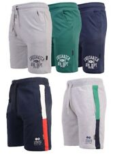 Mens Crosshatch Branded Half Pants Jogging Fleece Lined Drawcord Gym Shorts Pant
