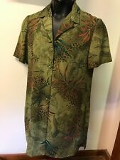Danny & Nicole Sz 12 Avocado Hawaiian Floral Silky Tunic/Shirt Dress Side Slit