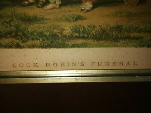 """ANTIQUE CHROMOLITOGRAPH-"""" COCK ROBINS FUNERAL""""- BY WILLIAM DICKES - CIRCA 1880"""