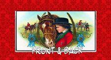 HORSE EQUESTRIAN WOMAN RACING JOCKEY HORSESHOE VINTAGE VINYL CHECKBOOK COVER