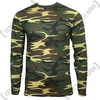 Woodland Camo Long Sleeved T-Shirt - 100% Cotton Army Military Top All Sizes New