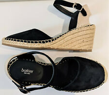 NWOB Botkier Elia Black Suede Ankle Strap Espadrille Wedge Sandal Size 9M