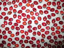 LADY BUGS LADYBUG RED WHITE COTTON FABRIC BTHY