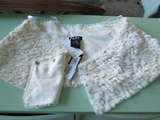 SLNY---Ivory Faux Fur Stole/ Scarf--Gold sequins--One size--Msrp $79--New w/tags
