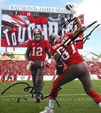 TOM BRADY AND ROB GRONKOWSKI SIGNED AUTOGRAPH 8X10 RP PHOTO TAMPA BAY BUCCANEERS