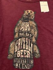 NWT Lucky Brand XL Big Bad Grizzly (Bear) Beer Paw Ale Short Sleeve T Shirt