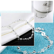 New Women 925 Sterling Silver Crystal Chain Bangle Cuff Charm Bracelet Jewelry