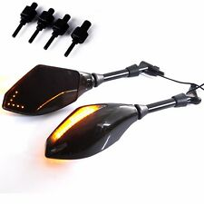 8/10MM ADAPTER BLACK MOTORCYCLE MIRRORS WITH LED TURN SIGNALS INTEGRATED LIGHTS