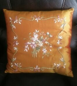 Vintage Silk Ribbon Flower Embroidery Pillow Floral Orange Fall Colors 16 x 16