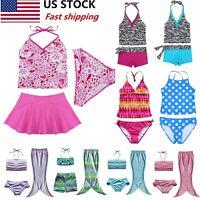 US Baby Girls Swimwear Kid Tankini Bikini Bathing Suit Swimsuit Swimming Costume