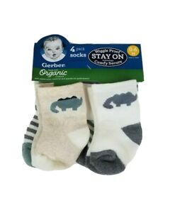 Gerber Baby Boys Wiggle Proof Stay on  Socks Size 0-6 Months 4 Pack