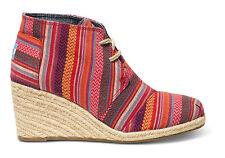 NEW Authentic TOMS Red Tribal Essien Desert Wedge, Women Size 5.5 NIB