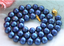 8MM Dark Blue South Sea Shell Pearl necklace 18KGP clasp