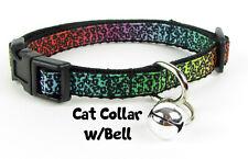 "Animal Print cat or small dog collar 1/2"" wide adjustable handmade bell leash"