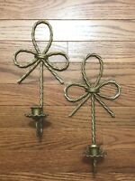 Wall Sconces Set of 2 Home Interior Twisted Rope Candle Holder Plaques Homco Bow