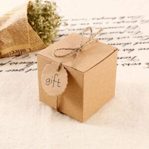 50Pcs Eco Kraft Small Natural Gift Boxes Wedding Favour Chocolate Box FREE Tags