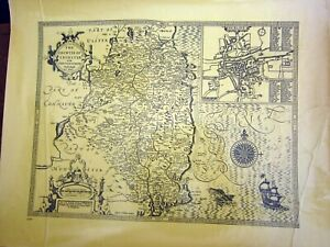 1970s Replica of 17th Century County map of Leinster & Dublin by John Spede