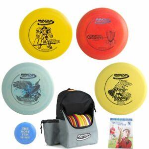 Complete Advanced Disc Golf Gift Set - Innova Backpack Bag, 4 Discs, Mini, Rules