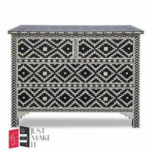 Bone Inlay Chest of Drawer Black and white Floral (MADE TO ORDER)