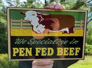 OLD VINTAGE PEN FED BEEF HEAVY METAL PORCELAIN SIGN FARM FARMING COW COWS
