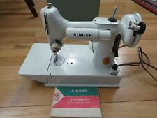 Vintage SingerPortable Sewing Machine Model 221K Featherweight White